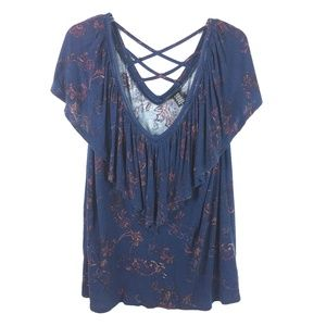 Torrid Womens Navy Paisley Ruffle Knit Top
